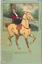 VINTAGE POSTCARD - Glamour, Ladies, Donnine, Horse riding, Gruss Aus, 1900