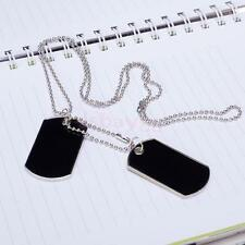 Black Military Mens 2 Dog Tag Charm Pendant Silver Ball Bead Chain Necklace Army