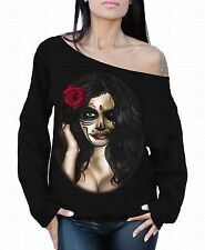 Sugar Skull Girl Off The Shoulder Oversized Slouchy Sweater Sweatshirt