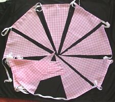 PINK GINGHAM FABRIC BUNTING FLAGS GARDENS WEDDINGS 10ft