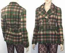 $598 Polo Ralph Lauren sz 6 Women's Green/Red Plaid Belted Peacoat Pea Coat NWT