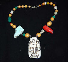 WILD One of a Kind Original HandmadeTurquoise Coral & Wood Carved Mask Necklace