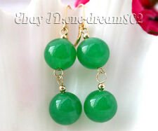Attractive 14mm nature round green jade dangle earring