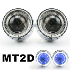 "Motorcycle White Angel Halos Eye 2.0"" HID Projector Light Blue Demon Eyes MT2D"