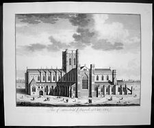 1724 Kip Large Antique Print of Chester Cathedral Church, Cheshire, England