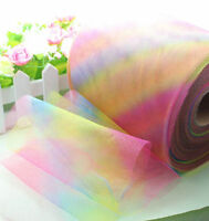 "5/25/100yd 6"" Rainbow tulle fabric tutu trim craft Wedding Decoration dressL1976"