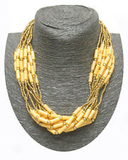 SEED BEADS & TUBE BEADS Pastel Yellow Gold Multi Layer Necklace