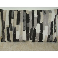"20""x12"" Oblong Bolster Cushion Cover Urban Art Paint Stripes Black Taupe Grey"