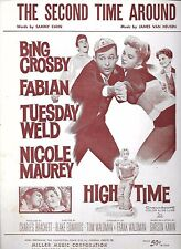 THE SECOND TIME AROUND '60 Sheet Music HIGH TIME Bing Crosby FABIAN Tuesday Weld