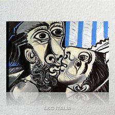 Picasso, Il bacio QUADRO INTELAIATO 70x50 STAMPA TELA ARTE AMORE INNAMORATI ARTE