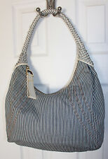 Beautiful FENDI Denim/White Stripe Hobo Spy Bag
