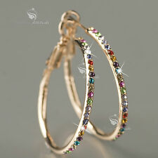 18k rose gold gp genuine SWAROVSKI crystal hoop stud earrings hoops colorful