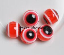 Wholesale 100Pcs Charm Acrylic Evil Eye Round Beads 8mm