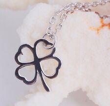 Flower 925 Sterling Silver Four Leaves Lucky Clover  Pendant Charm Necklace