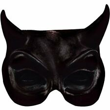 Black Demon Half Mask - Halloween Evil Gothic Devil Fancy Dress Eye Mask - 1722