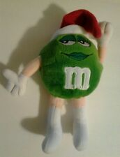 "2002 M & M Green with Red Christmas Hat Stuffed Plush 8"" inch Ornament Cute Used"