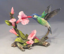 "Hummingbird Figurine Blue Green Pink Flowers 6"" Long New in Box Detailed Birds"