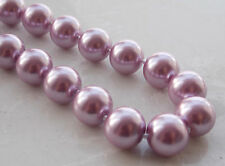 AAA 12MM Pink Purple South Sea Shell Pearl Round Beads Necklace 18'' B-31707