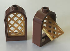 *NEW* 2 Sets Lego BROWN Window 1x2x2 2/3 Rounded Top w Gold Pane