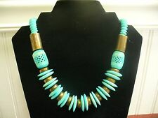 """Vintage Silvertone Metal Brass Bead Blue Stained Natural Bead 18.5"""" Necklace"""