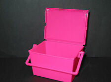 1 PINK TOTE PLASTIC CONTAINER RECIPE BOX DIABETIC DISPOSAL CONTAINER MFG USA