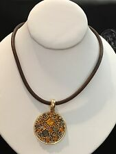 Estate 14k Yellow Gold Italian Mixed Cuts Madeira Citrine Leather Cord Necklace