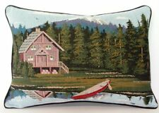 Rustic Cabin - Mountain View Reflection In Water Tapestry Pillow New!