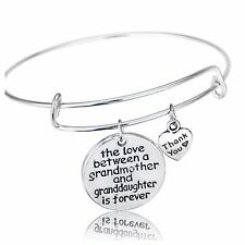 D28 The Love Between Grandmother & Granddaughter Is Forever Wire Bangle Bracelet