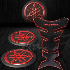 "ProGrip Black+Chromed Red Fuel Tank Pad+2"" 3D Yamaha Logo Fairing Emblem Sticker"