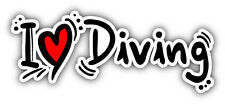 "I Love Diving Car Bumper Sticker Decal 6"" x 3"""