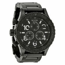 NEW Nixon A037001 Men's 42-20 Chronograph Black Dial Left Handed Titanium Watch