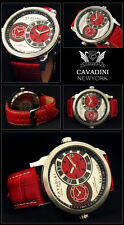 LUXUS DUAL TIME - CAVADINI HERREN UHR  SERIE NEW YORK  IN ROT  NEU