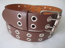 Men Women Double Grommet Holes Dress Casual Leather Belt 2Prong Removable Buckle