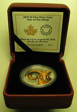 2015 Proof $5 Year Sheep Ram Goat Coloured Canada .9999 silver five dollars