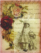 DOLLS GORGEOUS LITTLE GIRL ROSES AND FRENCH SCRIPT *QUILT ART FABRIC BLOCK*5X7*