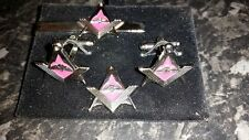 Nickel Airborne Square + Compass Cufflink, Tieslide +lapelpin set, Masonic, Army