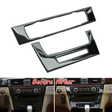 Carbon Fiber Interior Console Air Condition CD Panel Cover Trim For BMW E90 05+