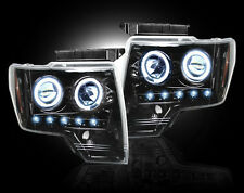 2009-2014 Ford F-150 & Raptor SVT RECON Smoked Projector LED Halo Headlights