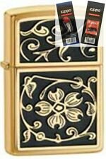 Zippo 20903 gold floural flush Lighter with *FLINT & WICK GIFT SET*