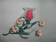 Home Interiors '' Green & Pink Metal Flowers '' Wall / Table Sconce  Gorgeous