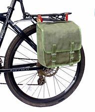 Ex-Army Showerproof Canvas Pannier Bag Leather Straps green bike vintage 1980s