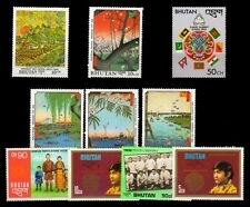 BHUTAN 10 Different Large Size Thematic Stamps-Flag-Painting, Football