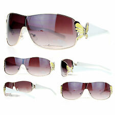 BUTTERFLY Shield Style Women's Fashion Sunglasses GOLD Yellow WHITE