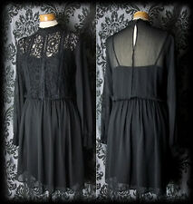Goth Black Lace HEARTBROKEN High Neck Tea Dress 12 14 Victorian Romantic Vintage