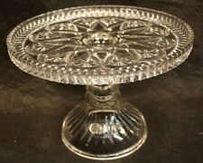 B VTG CLEAR PRESS CUT GLASS CAKE PLATE STAND WEDDING STORE DISPLAY SAW TOOTH