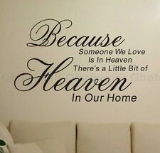 Because Love in heaven Wall quotes decals stickers decor home family art mural