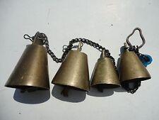 4 Vintage Bronze ? Bells on Iron Chain, shop/ store Door /  Garden Chimes Bells