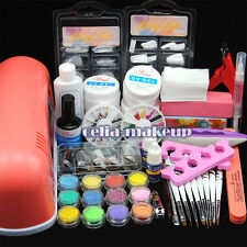 9W UV Lamp Light Cure Dryer Gel Polish Nail Art Tips File Glitter Kit Set