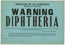 1923 Board of Health Infectious Disease Window Card Sign WARNING Diptheria