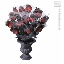 Vases 15 Red Roses & Spiderweb for Halloween Decoration